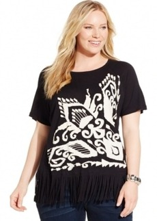 Inc International Concepts Plus Size Embroidered Fringe Tee