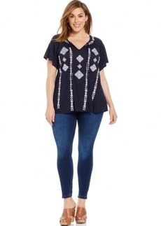 INC International Concepts Plus Size Embroidered Peasant Top