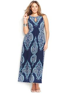 INC International Concepts Plus Size Empire Halter Maxi Dress