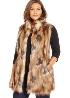 Inc International Concepts Plus Size Faux-Fur Sweater-Back Long Vest, Only at Macy's
