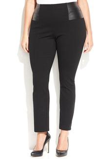 INC International Concepts Plus Size Faux-Leather-Trim Straight-Leg Ponte Pants