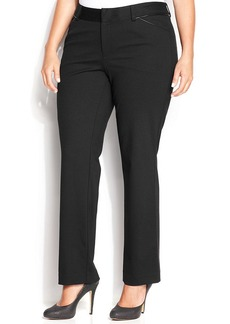 INC International Concepts Plus Size Faux-Leather-Trim Straight-Leg Ponte Pants