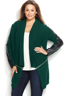 INC International Concepts Plus Size Faux Leather Zipper Cozy Sweater