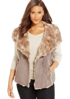 Inc International Concepts Plus Size Faux-Shearling Drape-Front Vest, Only at Macy's