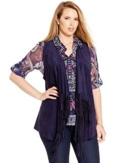 Inc International Concepts Plus Size Faux-Suede Fringe Vest, Only at Macy's