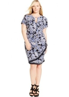Inc International Concepts Plus Size Faux-Wrap Keyhole Sheath Dress