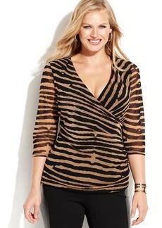 INC International Concepts Plus Size Faux-Wrap Ruched Striped Top