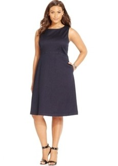 Inc International Concepts Plus Size Fit-and-Flare Denim Dress, Only at Macy's
