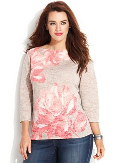 INC International Concepts Plus Size Floral Boat Neck Tee