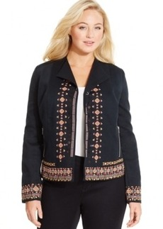 Inc International Concepts Plus Size Floral-Embroidered Jacket, Only at Macy's