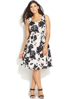 INC International Concepts Plus Size Floral-Print A-Line Dress