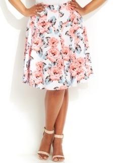 INC International Concepts Plus Size Floral-Print A-Line Skirt