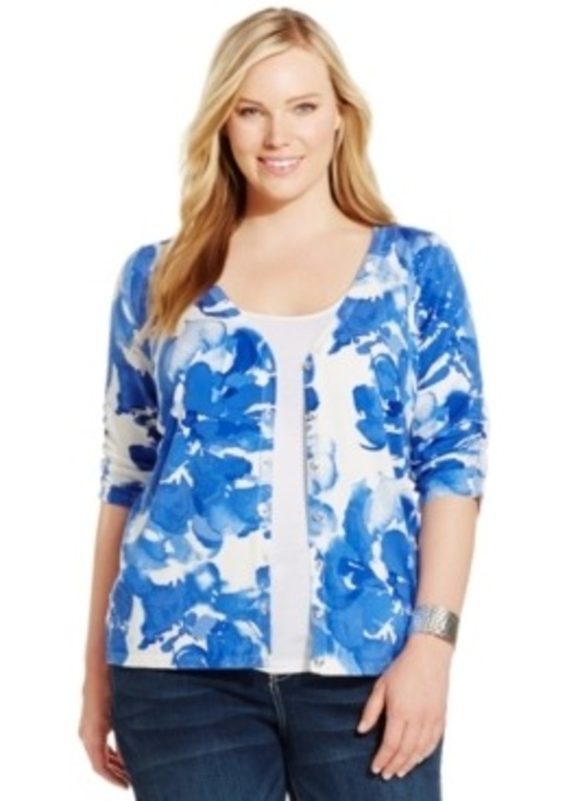 Plus Size Floral Cardigan Sweaters - Cardigan With Buttons
