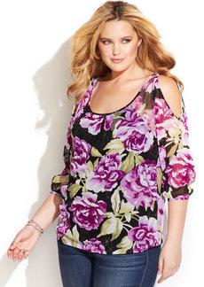 INC International Concepts Plus Size Floral-Print Cold-Shoulder Top