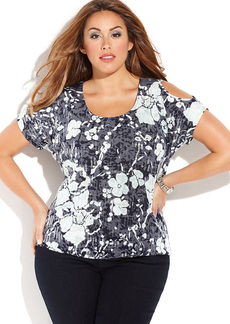 INC International Concepts Plus Size Floral-Print Cold-Shoulder Top