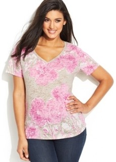 INC International Concepts Plus Size Floral-Print Embellished Tee