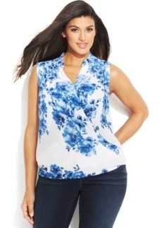 INC International Concepts Plus Size Floral-Print Faux-Wrap Blouse