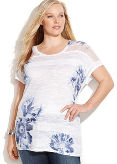INC International Concepts Plus Size Floral-Print Illusion Tee