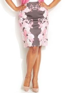 INC International Concepts Plus Size Floral-Print Pencil Skirt
