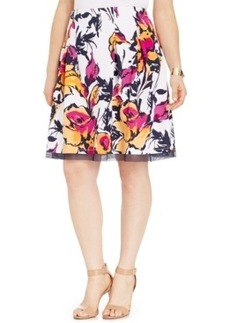 Inc International Concepts Plus Size Floral-Print Pleated Flare Skirt