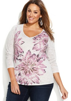 INC International Concepts Plus Size Floral V-Neck Tee