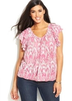 INC International Concepts Plus Size Flutter-Sleeve Printed Top