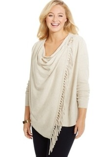 Inc International Concepts Plus Size Fringe Cardigan, Only at Macy's