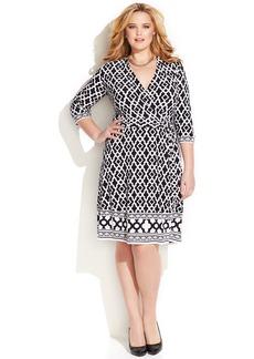 INC International Concepts Plus Size Geo-Print Faux-Wrap Dress