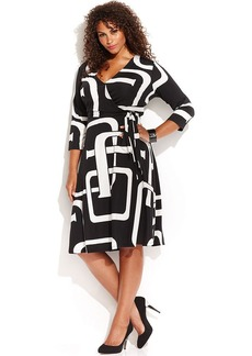 INC International Concepts Plus Size Graphic-Print Faux-Wrap Dress