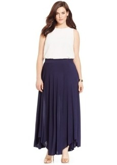 Inc International Concepts Plus Size Handkerchief-Hem Knit Maxi Skirt