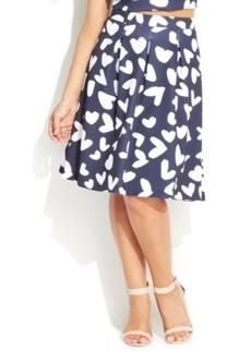 INC International Concepts Plus Size Heart-Print A-Line Skirt