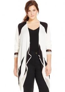 Inc International Concepts Plus Size Illusion Draped Colorblock Cardigan