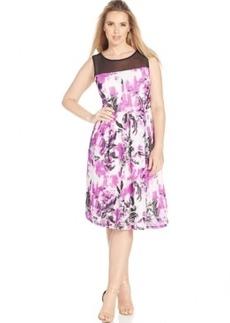 Inc International Concepts Plus Size Illusion Floral-Print A-Line Dress
