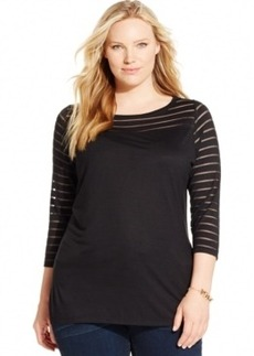 Inc International Concepts Plus Size Illusion-Stripe Solid Top