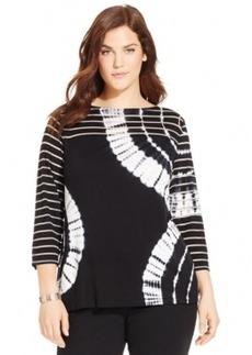 Inc International Concepts Plus Size Illusion-Stripe Tie-Dye Top