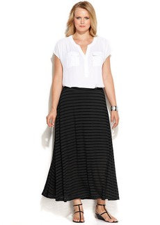 INC International Concepts Plus Size Illusion-Striped Maxi Skirt