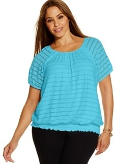 INC International Concepts Plus Size Illusion-Striped Peasant Top