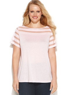 INC International Concepts Plus Size Illusion-Striped Short-Sleeve Tee