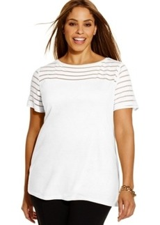 INC International Concepts Plus Size Illusion-Striped Tee