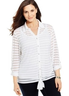 INC International Concepts Plus Size Illusion-Striped Tie-Front Shirt