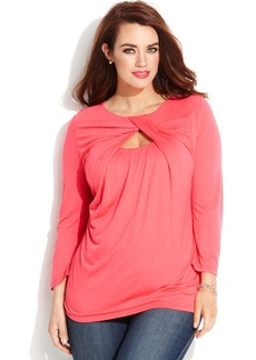 INC International Concepts Plus Size Keyhole-Cutout Top