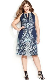 INC International Concepts Plus Size Keyhole Halter Sheath Dress