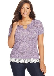 Inc International Concepts Plus Size Keyhole Lace-Trim Sweater