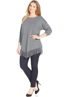 Inc International Concepts Plus Size Knit Fringed Poncho
