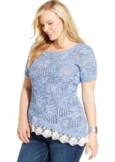 Inc International Concepts Plus Size Lace-Hem Open-Knit Top