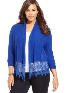Inc International Concepts Plus Size Lace-Trim Open-Front Cardigan