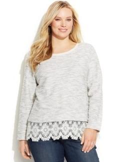 INC International Concepts Plus Size Lace-Trim Sweater