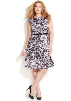 INC International Concepts Plus Size Leaf-Print Belted Flare Dress