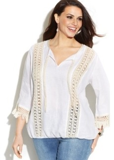 INC International Concepts Plus Size Linen Crochet-Trim Peasant Top