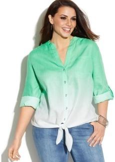 Inc International Concepts Plus Size Linen Dip-Dyed Tie-Front Shirt